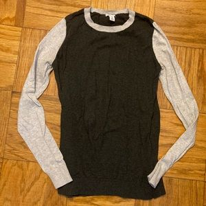 Gray Color Block Crew Sweater- long sleeve- M Tall